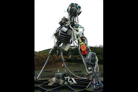 This sculpture was built by the Royal Society of Arts and is called WEEE man because it consists of three tonnes of waste electrical and electronic equipment.